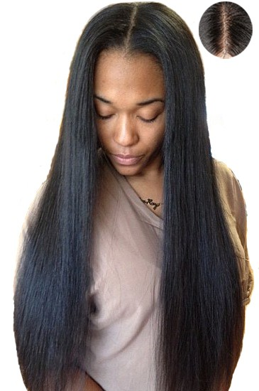"Indian Remy Hair Natural Color 18inches Yaki Straight,4.5"" Super Deep Middle Part Lace Front Wigs"