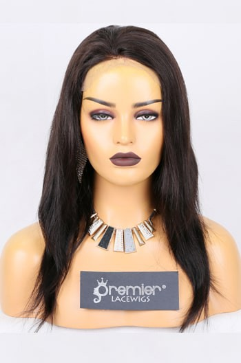 Clearance Full Lace Wig Straight,Natural Black 16 inches,120% Normal Density,Medium Size,Medium Brown Lace