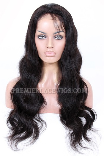 Stock brazilian virgin hair body wave glueless lace front wigs