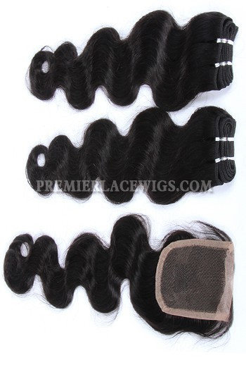 Brazilian Virgin Hair Weave 4ozs thick Hair Body Wave A Lace Closure with 2 Bundles Deal