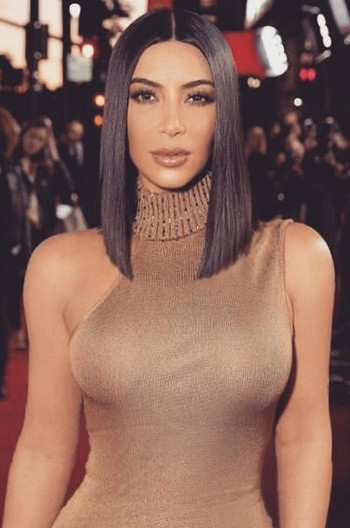 Kim Kardashian Blunt Cut Bob Black Color Human Hair Lace Wig