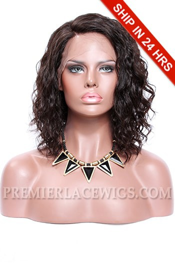 """Permanent Root To Tip Waves,4.5"""" Deep C Side Part Bob Style,Pre-Plucked Lace Front Wig"""
