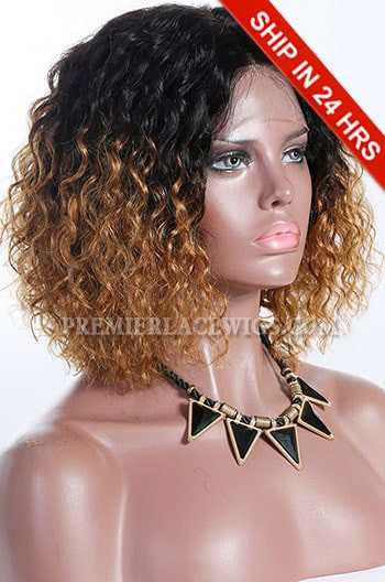 """Blonde Ombre Color Natural Curls Bob,4.5"""" Deep Middle Part Lace Front Wig,Pre-Plucked Hairline"""