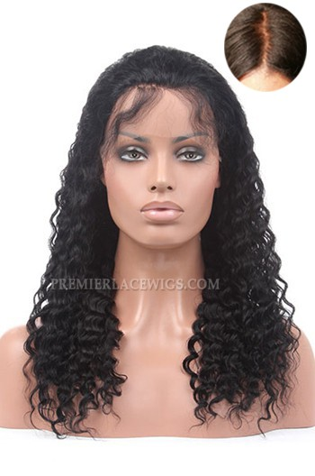 Silk Top Glueless Lace Front Wigs Indian Remy Hair Deep Wave