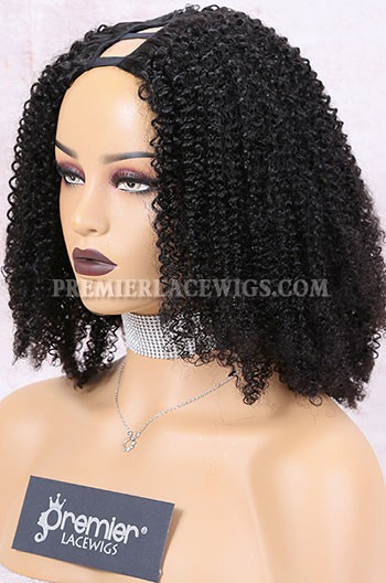 Clearance Textured U-Part Wigs Afro Kinky Curly,16inches,1B# Color,Medium Cap Size.Middle Part