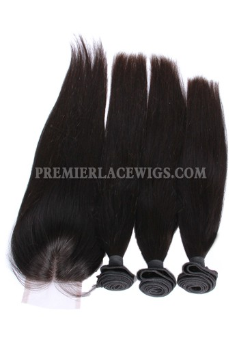 Peruvian Virgin Hair Silky Straight A Lace Closure With 3 Bundles Deal