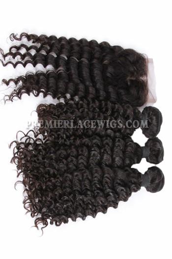 Peruvian Virgin Hair Deep Wave A Lace Closure With 3 Bundles Deal