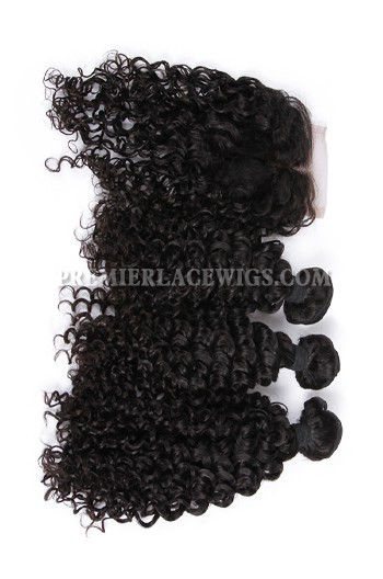Peruvian Virgin Hair Water Wave A Lace Closure With 3 Bundles Deal
