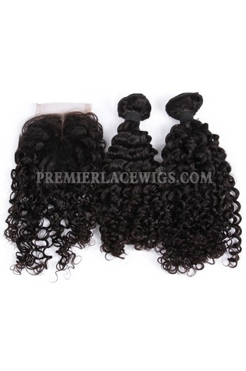 Peruvian Virgin Hair Water Wave A Lace Closure With 2 Bundles Deal