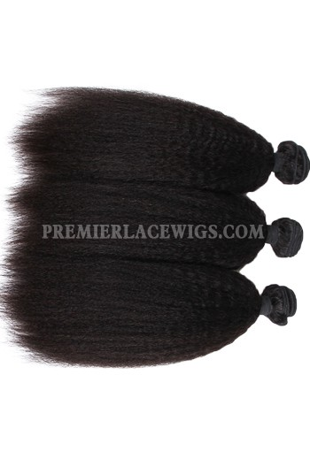 Peruvian Virgin Hair Weaves Natural Color Kinky Straight 3 Bundles Deal