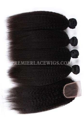 Peruvian Virgin Hair Kinky Straight A Lace Closure With 4 Bundles Deal