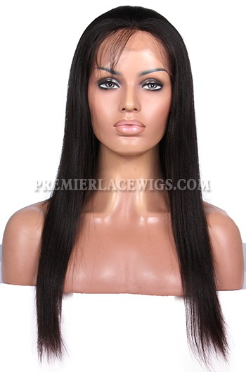 Natural Looking Indian Remy Hair Glueless Full Lace Wigs Yaki straight