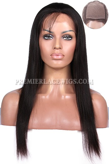 Indian Remy Hair Yaki Straight Glueless Silk Top Full Lace Wigs