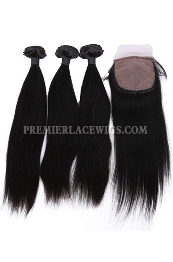 Straight Virgin Indian Human Hair Extension A Silk Base Closure with 3 Bundles Deal