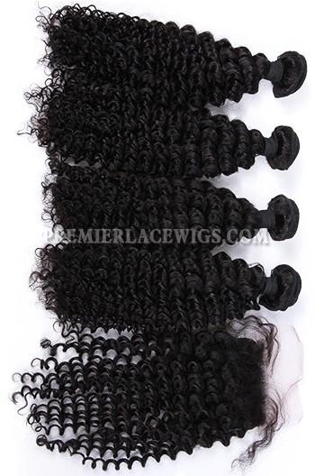 Deep Wave Virgin Indian Human Hair Extension A Silk Top Closure With 4 Bundles Deal