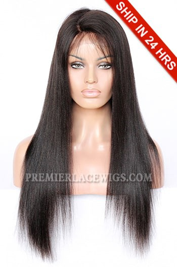 """Deep C Side Part 4.5"""" Lace Front Wig,Indian Remy Hair Yaki Straight,Natural Color,20 inches,130% Normal Density,Average Cap Size,Pre-plucked Hairline"""