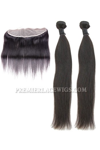 Peruvian Virgin Hair Silky Straight A Lace Frontal With 2 Bundles Deal
