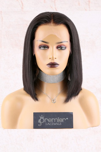 "12 inches 13""x6"" Lace Frontal Wig,Middle Part Yaki Textured Bob"