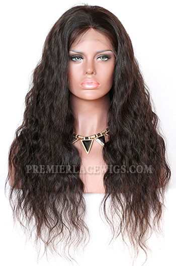 Indian Remy Hair Full Swiss Lace Wigs Natural Wave