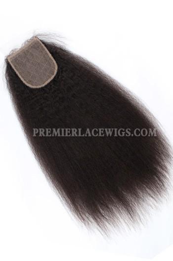 Indian Virgin Hair Silk Base Closure 4x4inches Kinky Straight