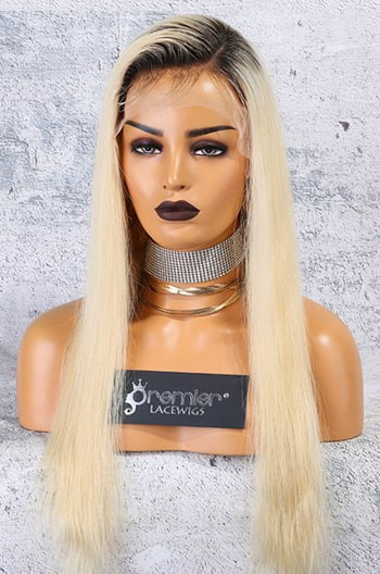 "Dark Roots Blonde Hair 4.5"" Lace Front Wig,"