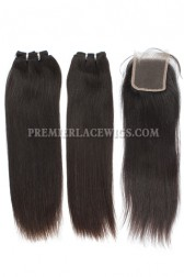 Brazilian Virgin Hair Weave 4ozs thick Hair Silky Straight A Lace Closure with 2 Bundles Deal