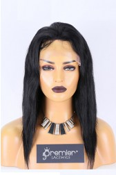 Clearance Sale 4*4 Silk Top 13*4 Lace Front Wig Straight,Indian Remy Human Hair 12 inches 1B# 120%,Medium Size