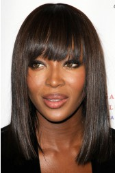 Naomi Campbell Inspired Shoulder Length Bob With Bangs 150% Thick Density Virgin Human Hair Lace Wigs