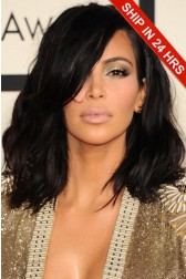 Kim Kardashian Shoulder Length Haircut Messy Bob Lace Front Wig,Average Cap Size