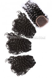 Luxury Brazilian Virgin Hair Weave 4ozs Thick Hair Candy Curl 3 Bundles with A Lace Closure Deal