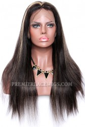Black Hair Blonde Highlights 1B/27# Full Lace Wigs Indian Remy Hair Light Yaki {Not In Stock,Need 30 Working Days To Process}