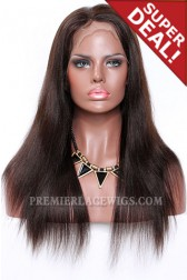 Dark Brown Color 2/4# Highlights Full Lace Wigs Indian Remy Hair Light Yaki,120% Normal Density,Light Brown Lace