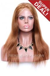 Light Auburn Color 30# Full Lace Wigs Light Yaki,120% Normal Density,Medium Size