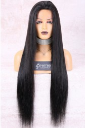 "30 Inches Yaki Textured Straight 6"" Deep Part Lace Frontal Wig,Pre-Plucked Hairline"