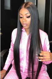 "30 Inches Extra-Long Hair Yaki Textured Straight, 6"" Deep Part Lace Frontal Wig,Pre-Plucked Hairline"
