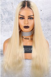 "Dark Roots Blonde Hair 6"" Lace Frontal 360 Wig, Silky Straight 150% Thick Density, Pre-Plucked Hairline, Removable Elastic Band"