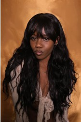 AyannaElise's Black Long Straight Hair With Bangs 360 Lace Wigs,Indian Remy Hair 150% Thick Density ,Pre-Plucked Hairline