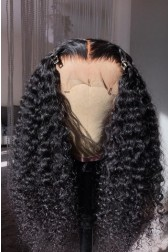 Tight Curls Middle Part 360 Lace Wig.[Advanced Pre-Bleached Knots,Pre-Plucked Hairline,Pre-Added Removable Elastic Band]