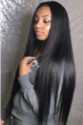 30 Inches Extra-Long Hair,Yaki Straight 360 Lace Wig,Pre-Plucked Hairline