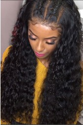 "Bomb Deep Curl 6"" Deep Part 360° Lace Wigs,Indian Remy Hair,150% Thick Density,Pre-Plucked Hairline,Removable Elastic Bands"