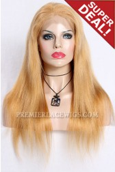 Blonde Color 27/613# Highlights Full Lace Wigs Chinese Virgin Hair Light Yaki,120% Normal Density,Medium Cap Size,Transparent Lace