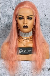 Salmon Pink Hair Full Lace Wig Chinese Virgin Human Hair Straight