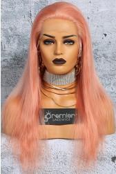 Salmon Pink Hair Full Lace Wig Chinese Virgin Human Hair Straight
