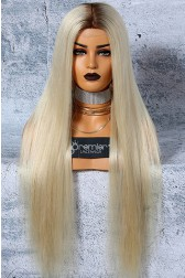 "Platinum Blonde Hair Full Lace Wigs 6""x6"" Silk Top Luxury Virgin Hair Silky Straight {Not In   Stock,Production Time 50 working days}"