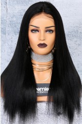 "250% Density 4.5"" Lace Front Wigs Indian Remy Hair Yaki Straight Big Bomb Hair Seriously Thick Look"