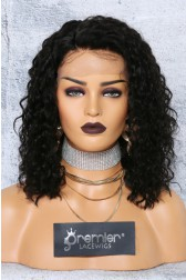 "Deep Curl Bob 4.5"" Lace Front Wig,Indian Remy Hair,Natural Color,12inches,150% Thick Density,Pre-plucked Hairline"