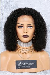 "Kinky Coily Hair Bob Cut 13""x4"" Lace Frontal Wig, Indian Remy Hair, Natural Black 14 inches 150% Thick Density"