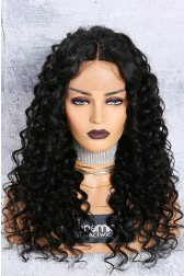 Chloe- 13x3 Lace Frontal Wig 1B# 18 inches,150% Density Curly Style Middle Part Indian Remy Hair, Average Size,Removable Elastic Bands {Production Time 10 working days}