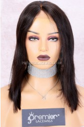 Clearance Glueless Lace Front Wig,Natural Color,Yaki Straight Bob With Bleached Knots, Chinese Virgin Hair,Medium Cap Size,150% Density
