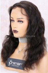Clearance Lace Front Wig,Natural Color,14 inches,Natural Wave,Brazilian Virgin Hair,Medium Cap Size,120% Density